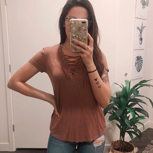 Lace Up Front Tee